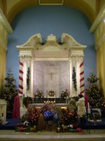A crib in front of the main altar at the Abbey, Galway, Christmas 2010