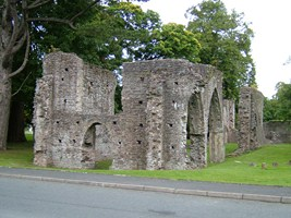 A view of the facade of Armagh Friary church and some of its extant arches.