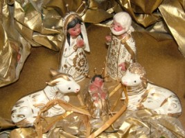 Christmas Crib with beautiful Central American figures in a family home, Bray, Co. Wicklow