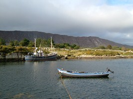 Local fishing boats in a harbour in Connemara, Co. Galway