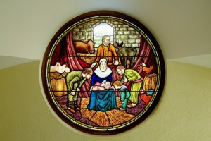 Nativity stained glass window in the Greccio Chapel, Franciscan church, Galway city