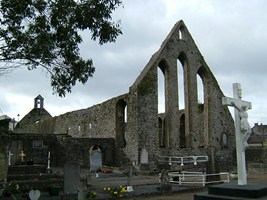 A view of the east window and nave of Nenagh Friary church.