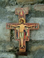 San Damiano Crucifix which Francis heard speaking to his heart, 'Francis, go, repair my house which as you see is falling into ruin'